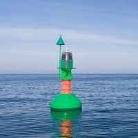 Green Bifurcation buoy for marine navigation